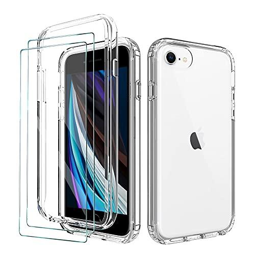 FMPC Funda Compatible iPhone 7/8/SE + 2 Pack Cristal Templado Protector de Pantalla, Antigolpes 360° Suave TPU Silicona Ultra Fina Transparente Carcasa para iPhone 7/8/SE