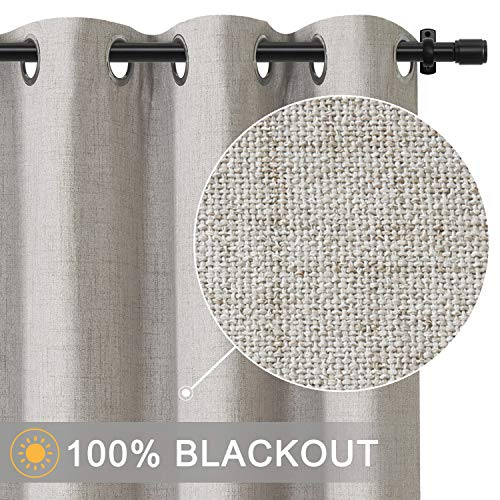 Rose Home Fashion 100% Blackout Curtains for Bedroom Linen Textured Look Drapes with Blackout Liner,...