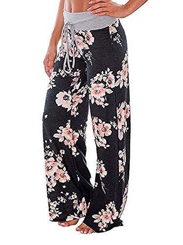 Walant Pantalon de Yoga Femme Été Chic Jambe Large Pantalon Décontracté Taille Haute Élastique Cordon Imprimé Sport Pants Casual Mode Leggings - Noir 1 - XL