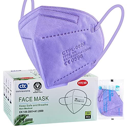 ctc connexions FFP2/KN95 maschera protettiva a 5 strati, certificata CE,(20pezzi/scatola, ciascuno in confezione singola) (viola)