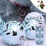 24 Stück Weihnachtskugeln Baumkugeln, Morbuy Weihnachtsdekorationen Baumschmuck für Weinachtsbaum Tannenbaum, Weihnachten, Hochzeit, Jubiläum, Party, Feier usw (24 pc,Blau)