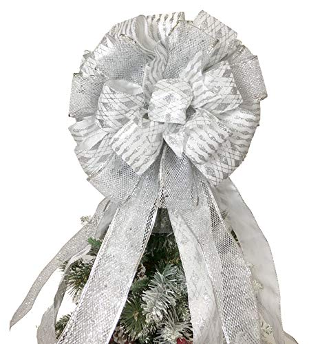 FLASH WORLD Christmas Tree Topper,27x12 Inches Large Toppers Bow with Streamer Wired Edge for Christmas Decoration (Silver)