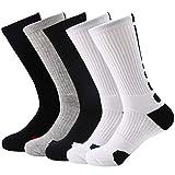 Zando Womens Long Hiking Socks Athletic Running Socks Boot Socks Cushion Breathable Walking Socks Mens Soccer Basketball Socks White Black Grey Shoe Size: 5-9