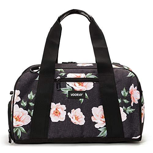Vooray Burner Gym Duffel, Small Gym Bag with Shoe Pocket, 16' Compact Duffel Bag (Rose Black)