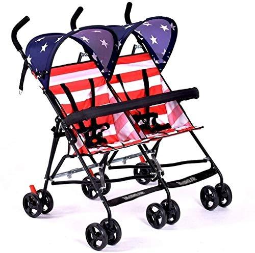 DAGCOT Cochecito de bebé portátil y ligero cochecito cochecito de bebé, coche de bebé, gemelo del bebé Ultra Ligero dos niño Doble Paraguas (Color : A)