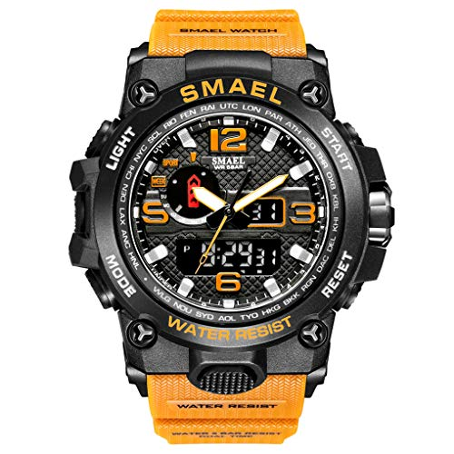 eYotto Waterproof Sports Watches for Men, Anolog Digital Watches Dual-Display Wrist Watch with Luminous Stopwatch Week 12/24H Time Alarm Clock (Orange)