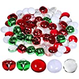 Winlyn Christmas Glass Gems and Jingle Bells Mix Metal Craft Bells Flat Glass Marbles for Holiday Winter Wedding Seasonal Decorations Crafts Aquarium Vase Filler Table Scatter 110 pcs 0.8'