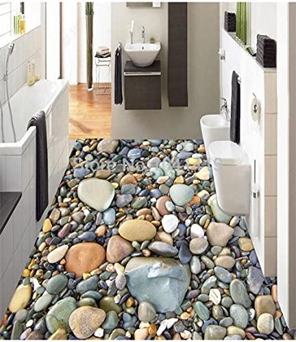 3D Stereo Stone Pebble Floor Wallpaper Baño Sala de estar PVC Autoadhesivo Impermeable Mural 3D Azulejos Etiqueta de piso Decoración para el hogar-300x210cm