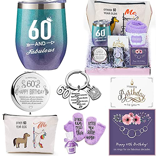 60th Birthday Gifts Box for women with 6 Special & Unique Gifts for Mom Sister Best Friend Wife Grandma Coworker   Funny Wine Gift Ideas Mirror Funny Socks Jewelry Makeup Bag Keychain Gift Cards