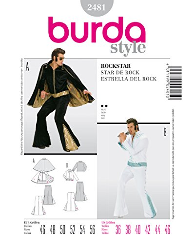 Burda 2481 Schnittmuster KostŸm Fasching Karneval Rockstar Elvis (Herren, Gr, 46-56) Level 2 leicht