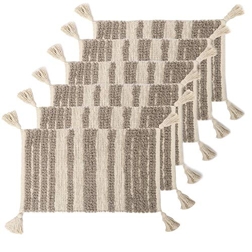 REDEARTH Boho Table Runner Placemats (Placemats Set of 6, Linear Obsession Taupe)