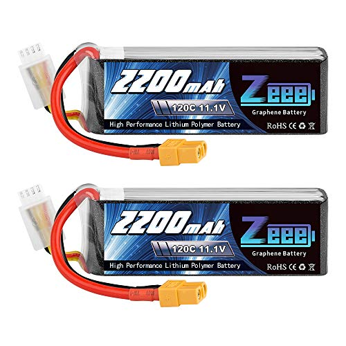 Zeee 3S LiPo batteria 2200mAh 11,1V 120C 3S RC batteria con connettore XT60 spina per FPV Racing UAV Drone Veicolo a quattro assi elicottero RC Nave RC Veicolo RC Modells (2 Batteria)
