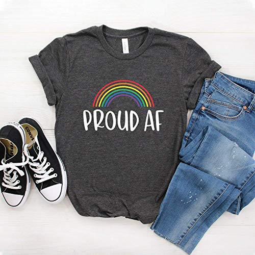 Gay Pride - Proud AF - LGBT Shirt - Rainbow Flag - Gay Shirt - Lesbian Shirts - Softstyle Unisex Tee (Multiple Colors)