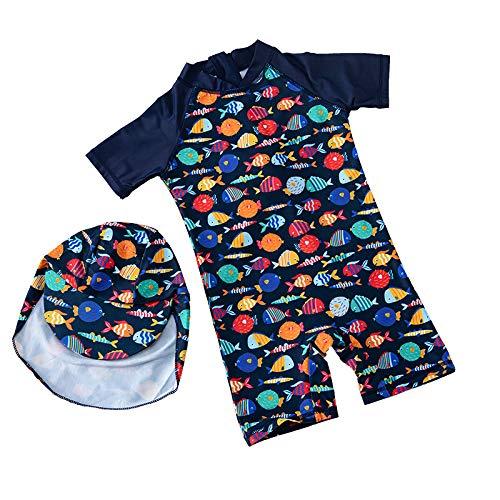 子供 ベビー 水着 ワンピース キャップ付き 速乾性 ラッシュガード 男の子 女の子 スイムウェア UVカット 海水浴 ビーチ プール カラフル魚