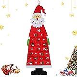 WELLXUNK Calendario de Adviento de Santa,Calendario de Adviento Navidad en Pared,de Fieltro,con Bolsillos de 24 días Adornos Colgantes de Cuenta Regresiva para Decoraciones de Pared de Puertas (Rojo)