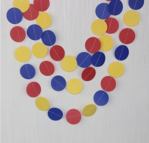 Since Circle Dots Paper Garland Pink White and Gold Glitter - Set of 4 (5 Feet Each) Total 20 feet. (Yellow Red Blue)