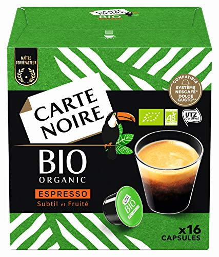 Carte Noire Café Espresso Bio, Capsules Compatibles Dolce Gusto, 6 Paquets de 16 capsules (96 Capsules)
