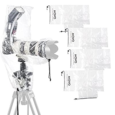 """Movo (5 Pack) RC2 Clear Rain Cover for DSLR Camera, Flash, and Lens up to 18"""" Long by Movo"""