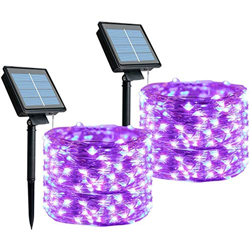 Kuinayouyi Guirnalda de luces solares, 2 unidades de 33 pies, 100 luces LED de hadas con 8 modos impermeables de alambre de cobre púrpura