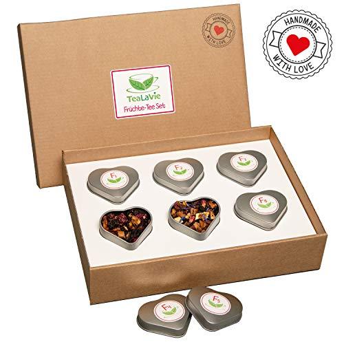 TEALAVIE - 6er Tee-Geschenke-Set - Früchte Tee lose | edle Herz-Teedose für Teeliebhaber | ideal für Dankeschön Geschenke | 60g loser Früchtetee Mischung Mix