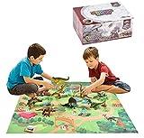 welltop 12 PCS Dinosauro Giocattolo, Figure di Dinosauro con Tappetino da Gioco e Alberi per Creare Un Jurassic World, Compreso T-Rex, Triceratopo, Pterosauria per Bambini