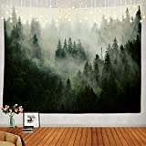 Shrahala Landscape Tapestry, Rapunzel of The Forest Decor Wall Hanging Large Tapestry Psychedelic Tapestry Decorations Bedroom Living Room Dorm(59.1 x 82.7 Inches, Green Wood Fog)