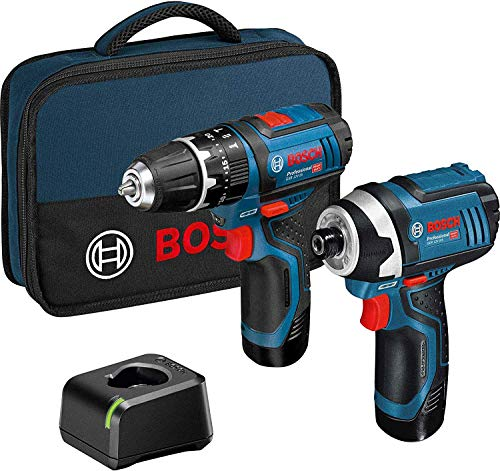 Bosch 06019A6979 12v Twin Pack GSB Combi Hammer Drill + GDR Impact Driver Lithium Ion, 12 V, Blue