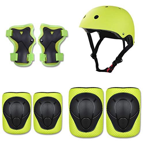 OttoBen Niños Protecciones Skateboard, Casco & Rodilleras & Coderas & Muñequera 7 Piezas Conjuntos, Proteccion Kit para Deporte Bici Patines Ciclismo Skate Scooter Verde S