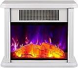 XYSQWZ Calentador De Chimenea Eléctrico Efecto De Llama Realista Fuego Eléctrico Salón Soporte De Suelo 750w-1500w Calor Chimenea Eléctrica Infinitamente Ajustable Blanco