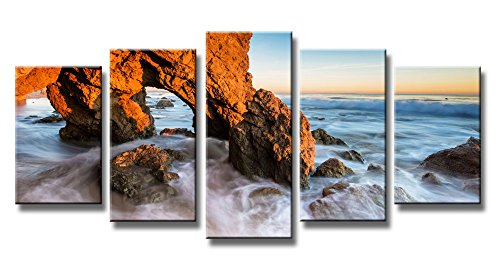 Wieco Art Seascape Canvas Prints Wall Art Sunset Ocean Beach Pictures Paintings for Living Room Bedroom Home Decorations Red Rock 5 Piece Modern Stretched and Framed HD Sea Scenery Landscape Artwork