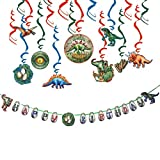 Decoraciones Fiesta Dinosaur Birthday Party Decoration Set Hanging Swirl Decoration Cake Topper Kit Cupcake Topper Happy Birthday Banner Dino Party, 2 Piezas
