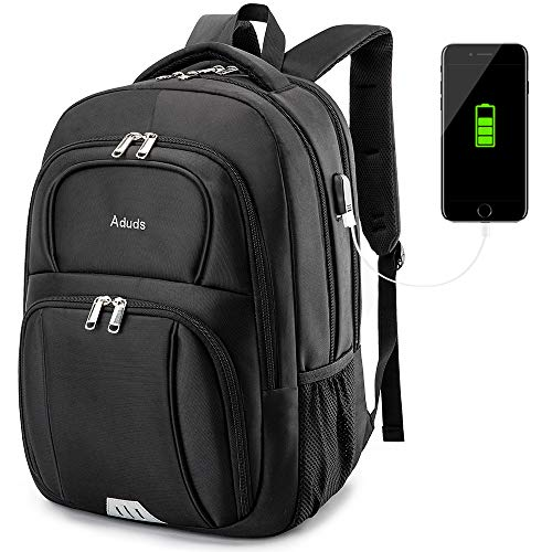 Aduds 15.6inch Laptop Backpack,Water-Resistant Durable Travel Business Computer Backpack with USB Charging Port,College Bookbag,Overnight Weekender Bag Rucksack for men women