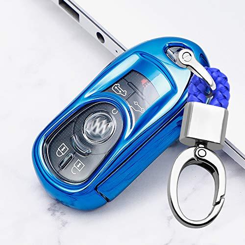 ontto Autoschlüssel Hülle Abdeckung für Opel Vauxhall Astra J K Corsa E 2015-2019 Insignia Zafira Karl Mokka TPU Schutzhülle Schlüsselschutz mit Schlüsselanhänger Schutz Etui für Fernbedienung-Blau