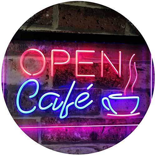 """ADVPRO Café Open Coffee Kitchen Decoration Bar Beer Dual Color LED Neon Sign Blue & Red 12"""" x 8.5"""" st6s32-i2011-br"""