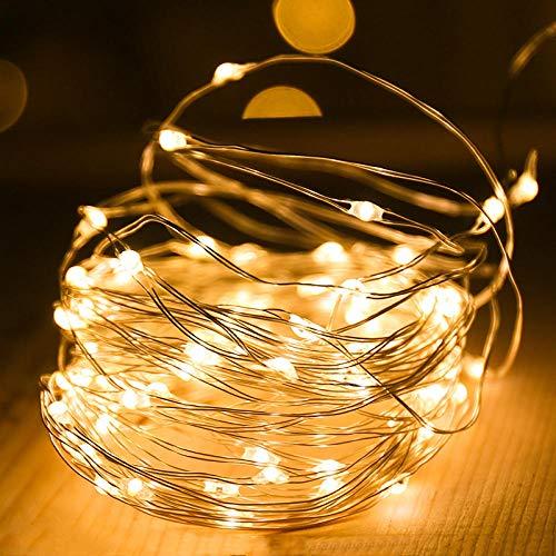 Luces cadena alambre cobre LED, luces estrella alambre cobre, decoración dormitorio Luces cadena pequeñas a prueba agua USB-50 metros 500 luces modelos cálidos enchufables en blanco alta calidad