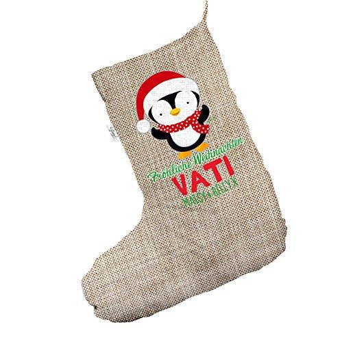 Personalizzato Fröhliche WEIHNACHTEN Penguin Jumbo in iuta, calza di Natale
