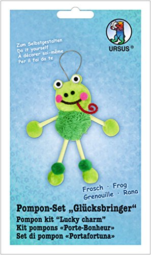 Ursus 39530005 - Bastelset Glücksbringer Frosch aus Pompons, ca. 19 cm