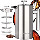 Cafetière 1 Litre, homgeek French Press Coffee Maker, Made of Stainless Steel 304 with Double-Wall Insulated Coffee Presser and Tea Pot, 3 Level Filtration System, 1 Extra Reusable Filter (34 Ounce)