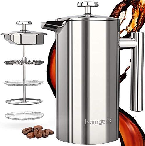 homgeek French Press Kaffeebereiter 304 Edelstahl, Kaffeebereiter Doppelwandig Isoliert 1 Liter (8 Tassen), Kaffeepresse mit 1 Extra Sieben, Kein Kaffeesatz,Silber