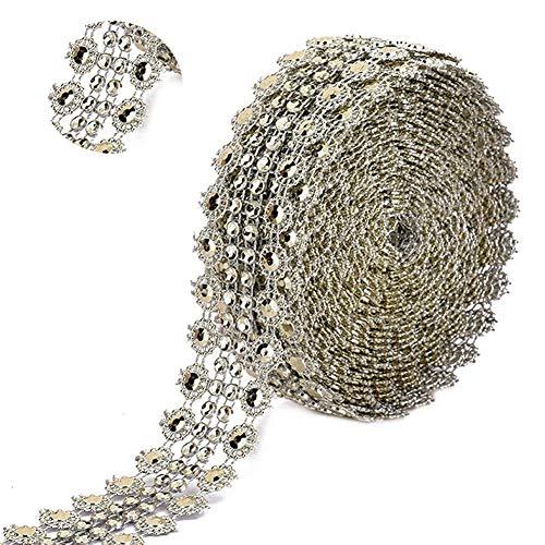 2 rotoli di nastro in strass, nastri vuoti in argento chiaro con diamanti in oro, decorazione con nastri per torta di compleanno, artigianato (oro chiaro, argento)