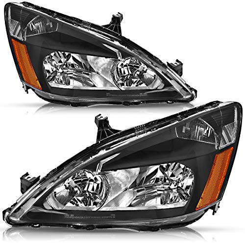 OEDRO Headlamps Replacement for 2003 2004 2005 2006 2007 Honda Accord Black Housing Amber Corner Headlights Assembly Set