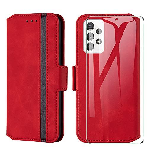 HHUIWIND Hülle für Samsung Galaxy A52 5G Leder + Panzerglas,Handyhülle Samsung Galaxy A52 5G,Schutzhülle Handytasche Klapphülle Streifen Hülle mit Kartenfächer für Samsung Galaxy A52 5G-Rot01