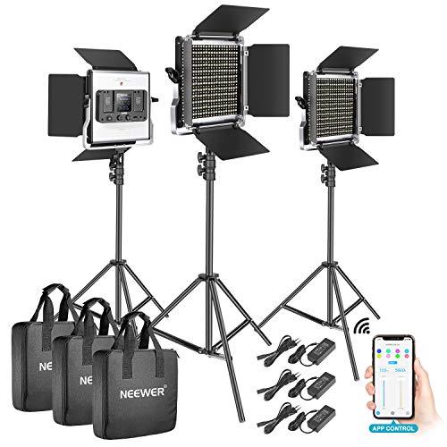 Neewer 3-Pack 528 LED Luz Video Metal Regulable Bicolor 3200K-5600K Kit Iluminación Fotografía con Sistema Control Inteligente App Pantalla LCD y Soporte Luz para Estudio Exterior