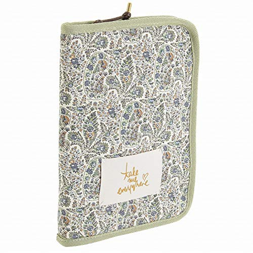 パスポートケース かわいい リバティ 母子手帳ケース オーガナイザー | ジュエルナローズ ペイトン 64031 (グリーン(ペイズリー))
