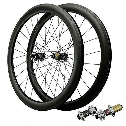 ZNND Ruedas de Ciclismo 700c,Fibra de Carbono Bicicleta Carretera Ruedas Altura del Círculo 50mm Freno Disco 7-12 Velocidades (Versión de Vacío) (Color : Gray, Size : 55mm Opening)