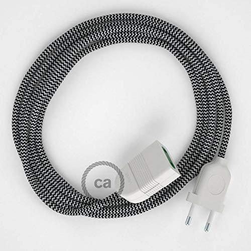 Rallonge électrique avec câble textile RZ04 Effet Soie ZigZag Blanc-Noir 2P 10A Made in Italy. - 1.5 Mètres, Noir