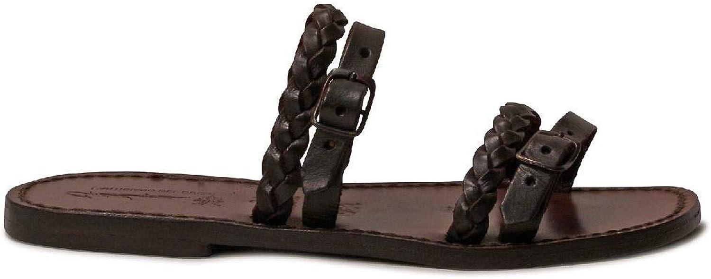 GIANLUCA - L'ARTIGIANO DEL CUOIO Women's 1275BROWN Brown Leather Flip Flops