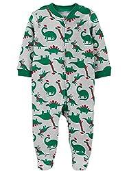 5. Carter's Infant Boys Gray Christmas Dinosaurs Sleeper Pajamas