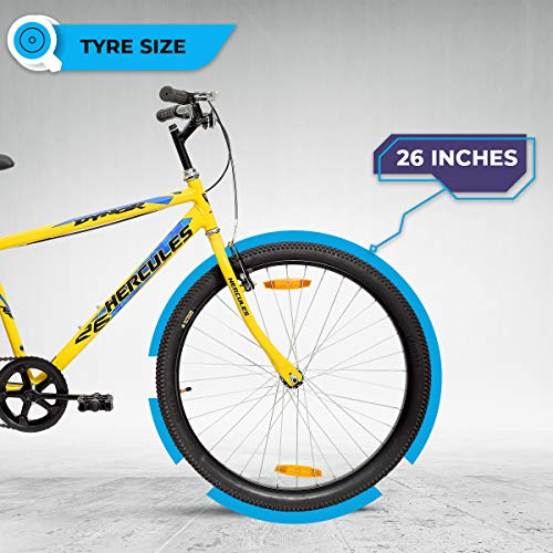 Hercules Dynor RF 26T Single Speed Road Cycle ( Canary yellow ,Ideal for : 12+ Years ,Brake : V Brake)