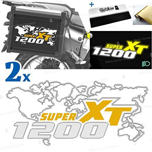 2 pegatinas compatibles con maletas laterales para XT 1200 Z Super Tenere para maletas originales y Touratech All y Givi Trekker Outback (blanco-amarillo)